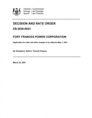 2021 Rate Order Cover